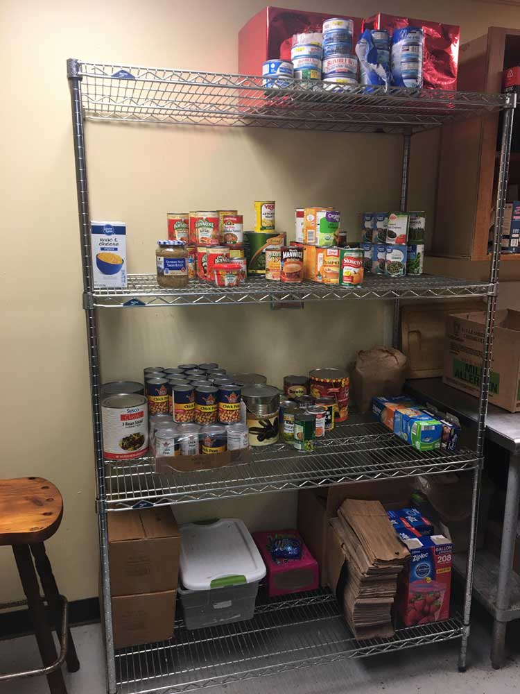Shelves at the Lord's Help Cornelia Soup Kitchen